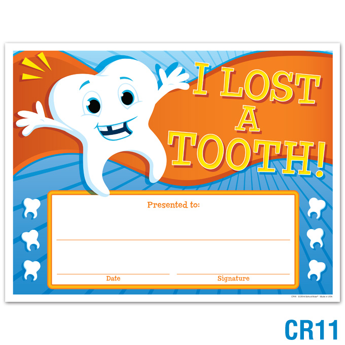 Product Details I Lost A Tooth Award Certificates