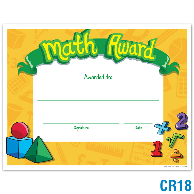 product details math award certificates awards recognition